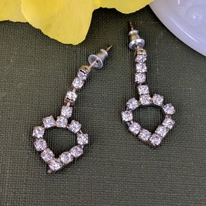 Vintage Rhinestone Heart Dangle Earrings
